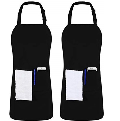 Utopia Kitchen 2 Pack Adjustable Bib Apron with 2 Pockets 32 x 28 Inches, Black