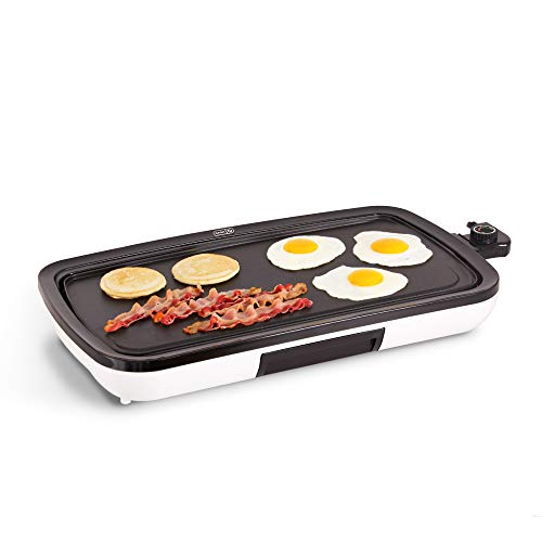 DASH DEG200GBWH01 Everyday Nonstick Electric Griddle for Pancakes, Burgers, Quesadillas, Eggs & other on the go Breakfast, Lunch & Snacks with Drip TrayWhite