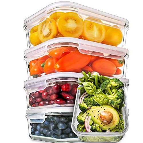 Prep Naturals Glass Meal Prep Containers - Food Prep Containers with Lids Meal Prep - Food Storage Containers Airtight - Lunch Containers Portion Control Containers  (5 Pack,30 Ounce)