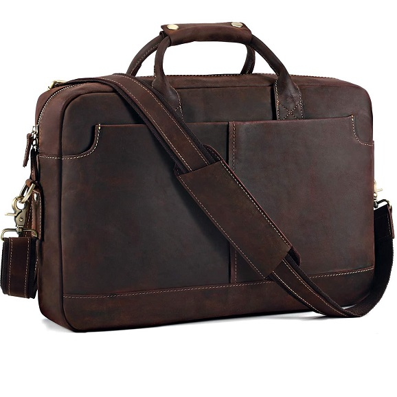 "Kattee Vintage Genuine Leather 15.6"" Laptop Briefcase Messenger Bag Coffee"