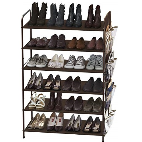 Simple Houseware 6-Tier Shoe Rack Storage Organizer w/Side Hanging Bag, Bronze