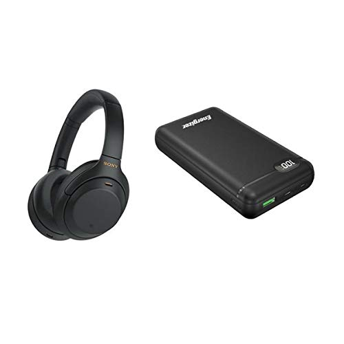 Sony WH-1000XM4 Over The Ear Noise Cancelling Headphones, Black - Energizer UE20003PQ 20000mAh LCD Display Portable Power Bank, Black