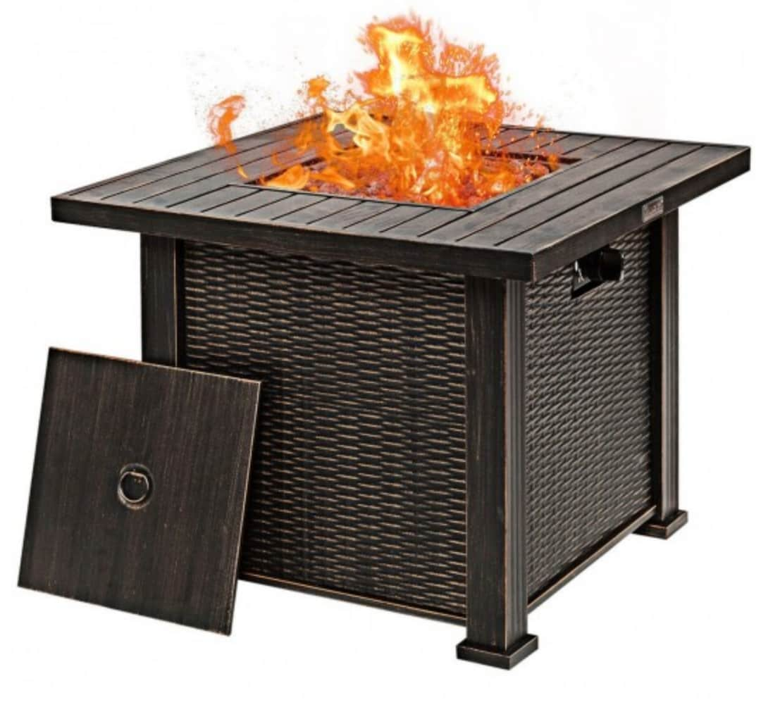 "Costway 30"" Square Propane Gas Fire Pit Table"