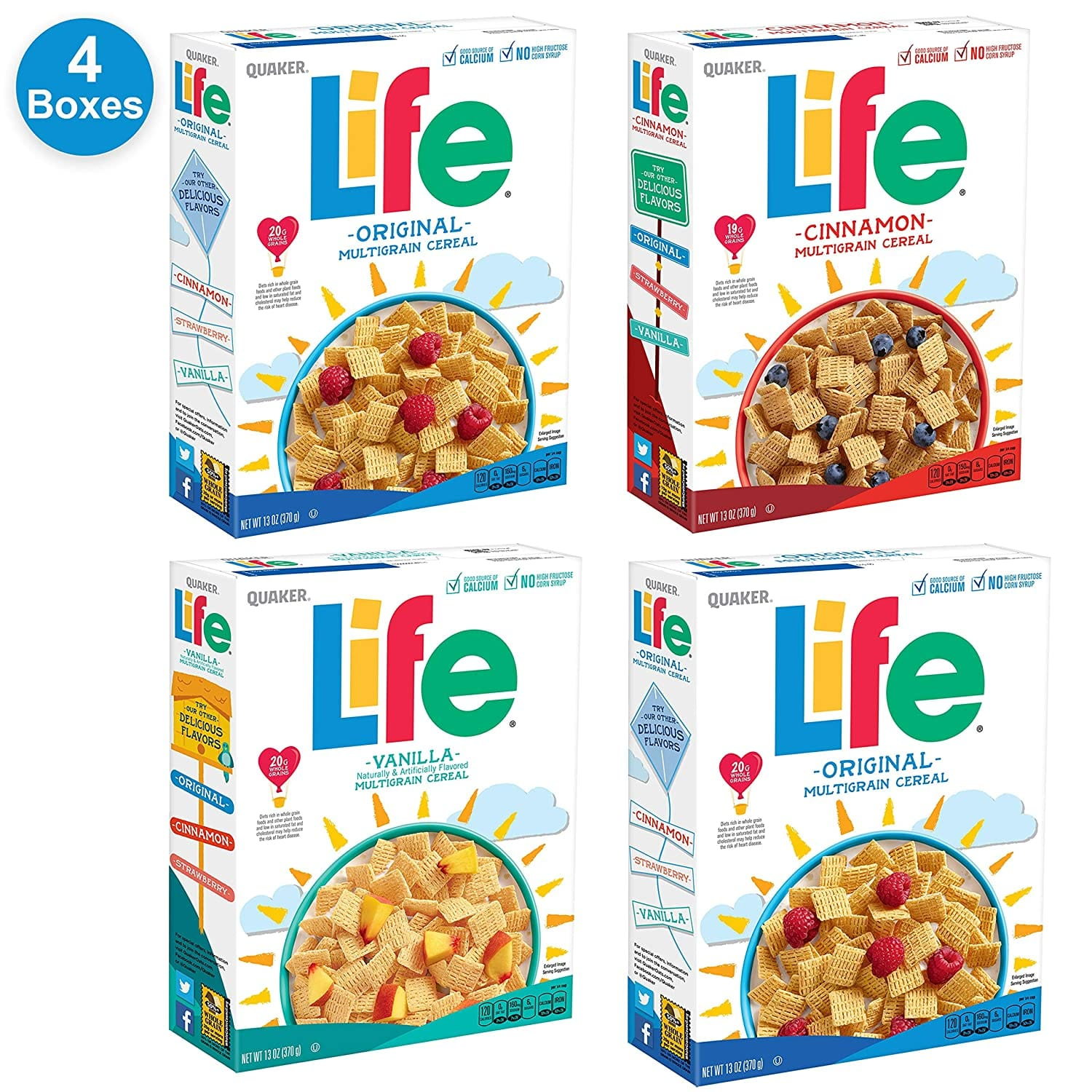 Prime Members: 4-Ct 13-Oz Quaker Life Breakfast Cereal (3 Flavor Variety Pack)