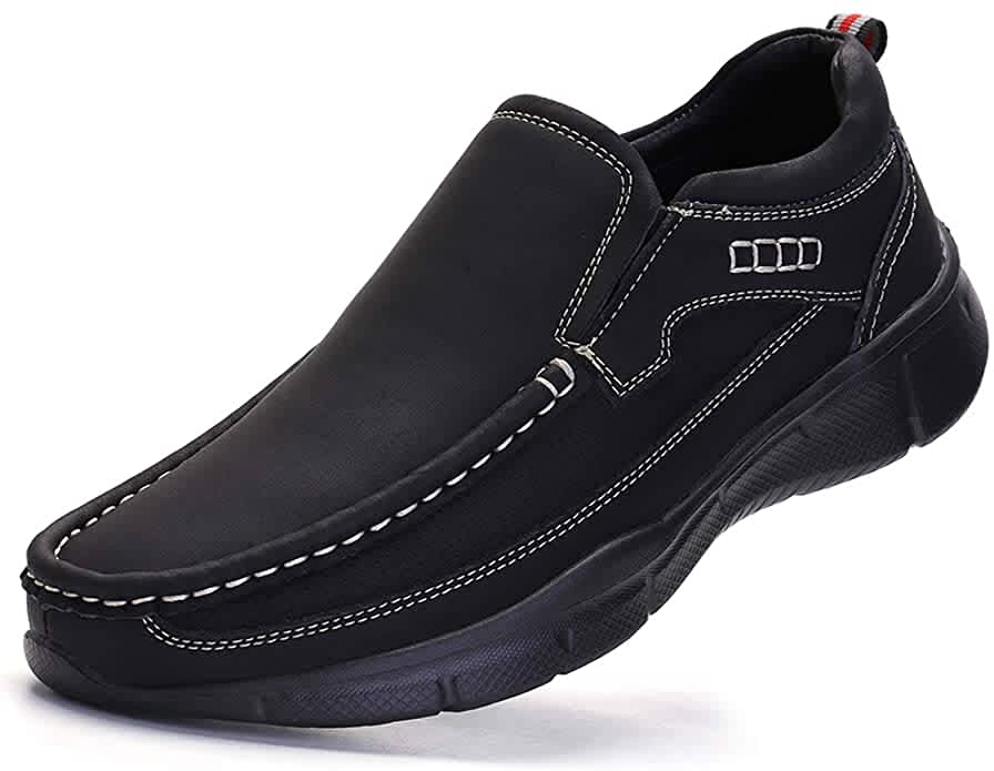 Venshine Men's Casual Leather Slip-On Loafers