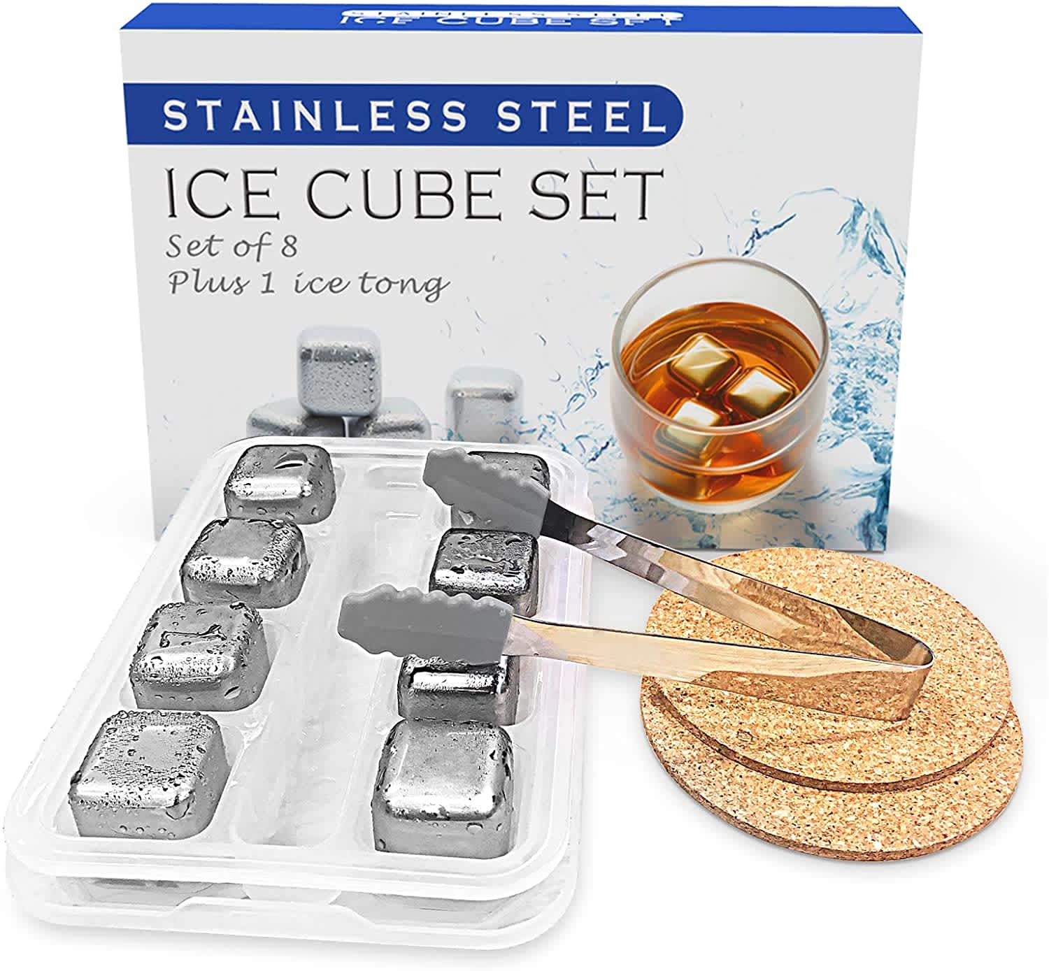 Losrecal 8-Piece Stainless Steel Ice Cube Set