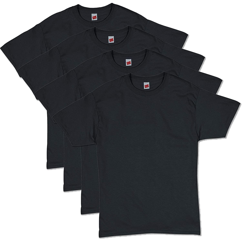 4-Pack Hanes Men's ComfortSoft Short Sleeve T-Shirts (Black)