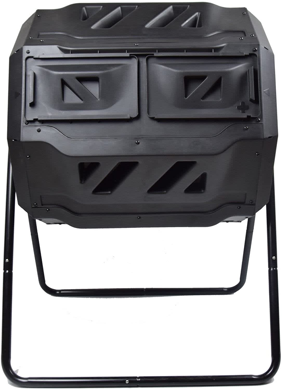 MaxWorks Dual-Chamber Garden Compost Bin Tumbler
