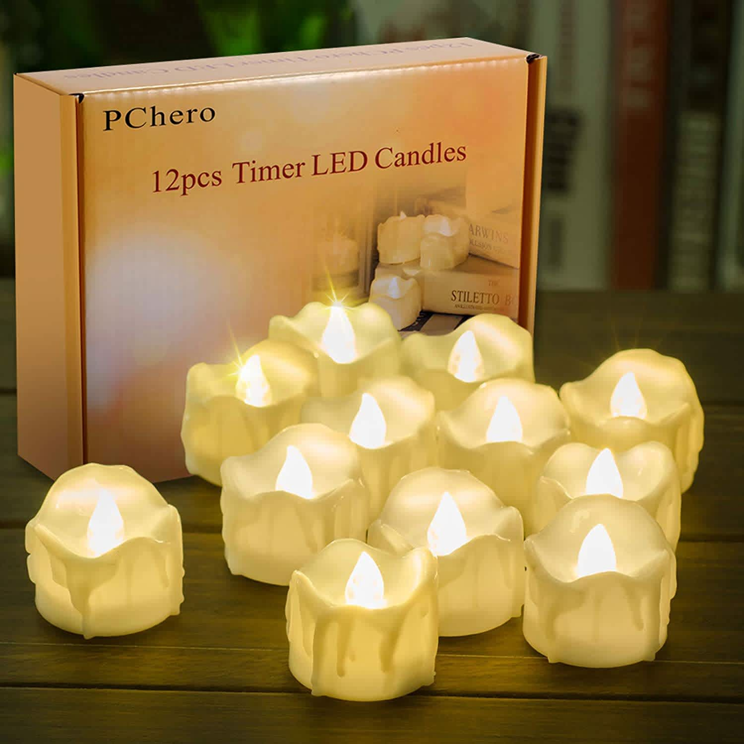 Battery Operated Timer Candles 12-Pack