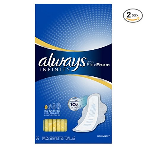 ALWAYS Infinity, Size 1, Regular Sanitary Pads with Wings, Unscented, 36 Count (Pack of 2)