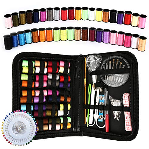 Sewing Kit, 128Pcs Okom Zipper Portable Mini Sewing Kit, Premium Sewing Supplies Suitable for Traval, Home, Beginner, Emergency- Gift (L)