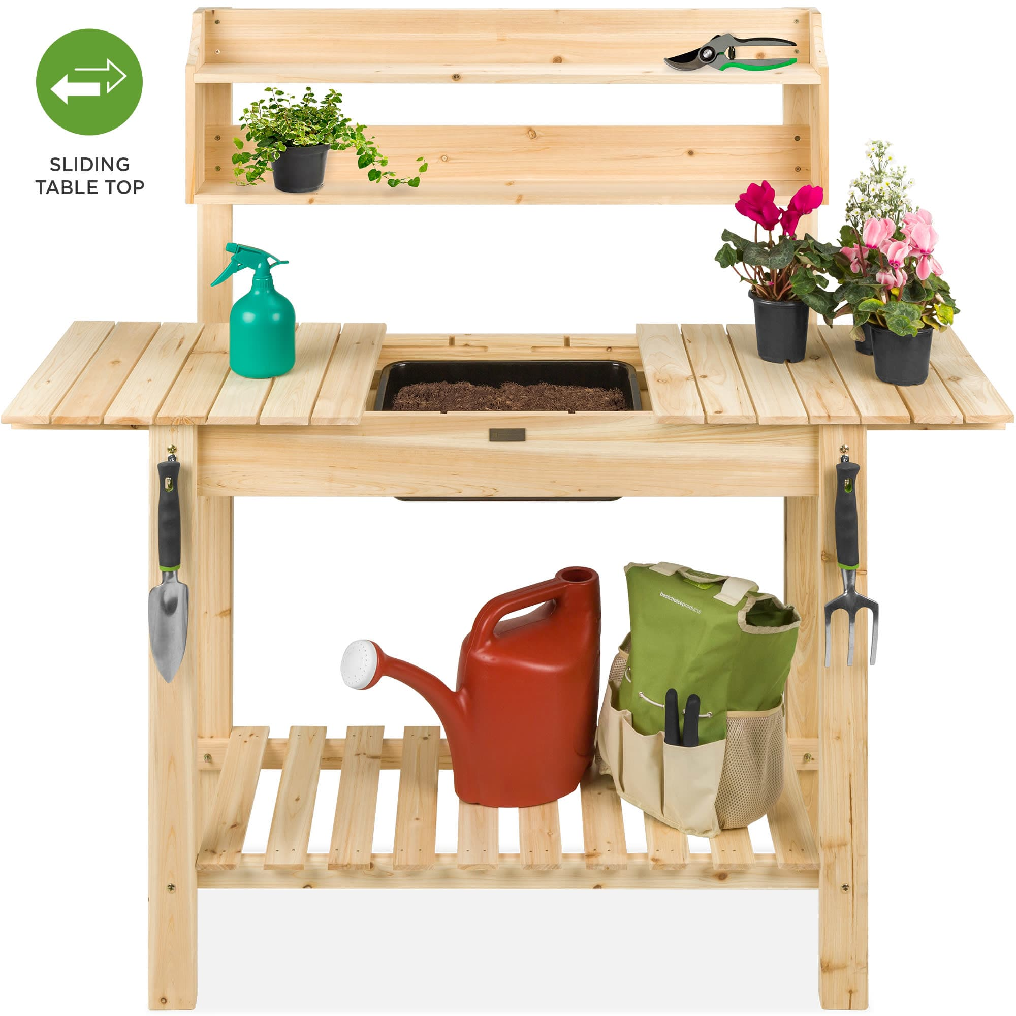 Best Choice Products Potting Bench w/ Sliding Tabletop