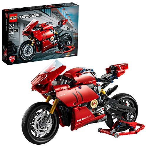 LEGO Technic Ducati Panigale V4 R 42107 Motorcycle Toy Building Kit, Build A Model Motorcycle, Featuring Gearbox and Suspension, New 2020 (646 Pieces)