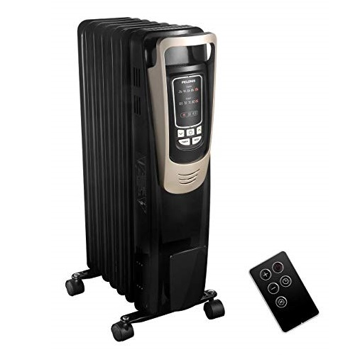 PELONIS Oil Filled Radiator Heater Luxurious Champagne Portable Space Heater with Programmable Thermostat, 10H Timer, Remote Control, Tip Over&Overheating Functions