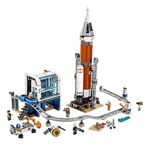 LEGO City Space Deep Space Rocket and Launch Control 60228 Model Rocket Building Kit with Toy Monorail, Control Tower and Astronaut Minifigures, (837 Pieces)