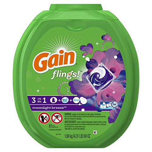 Gain Flings Moonlight Breeze Laundry Detergent Packs, 81 Count
