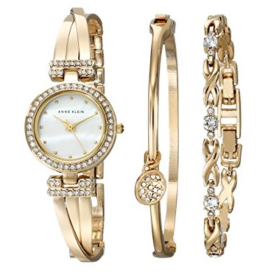 Anne Klein Women's AK/1868GBST Swarovski Crystal-Accented Gold-Tone Bangle Watch and Bracelet  Goldtone  Box Set