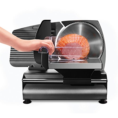 """Chefman Die-Cast Electric Deli/Food Slicer Precisely Cuts Meat Cheese, Bread, Fruit & Veggies, Adjustable Thickness Dial, Removable 7.5"""" Serrated Stainless Steel Blade"""