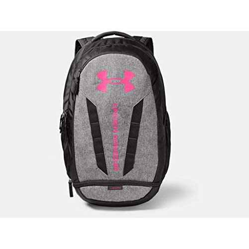 Under Armour Adult Hustle 5.0 Backpack , Jet Gray (010)/Cerise , One Size Fits All