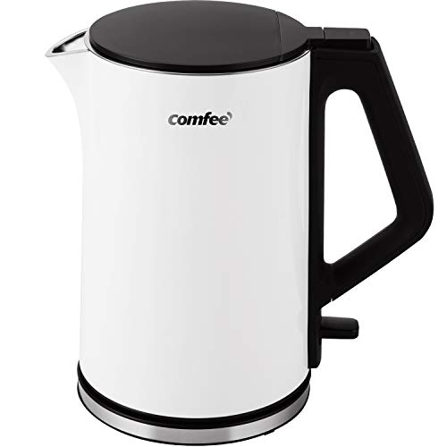 COMFEE' 1.5L Double Wall Stainless Steel Electric Kettle with 100% Stainless Steel Inner Pot and Lid. Cool Touch & BPA Free