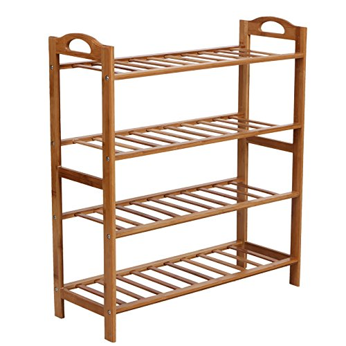SONGMICS 4-Tier Shoe Rack, 100% Bamboo Entryway Shoe Shelf Storage Organizer, 30 Inch Wide Holds up to 12 Pairs, 26.6 x 10.3 x 29.4 Inches,Nature ULBS94N