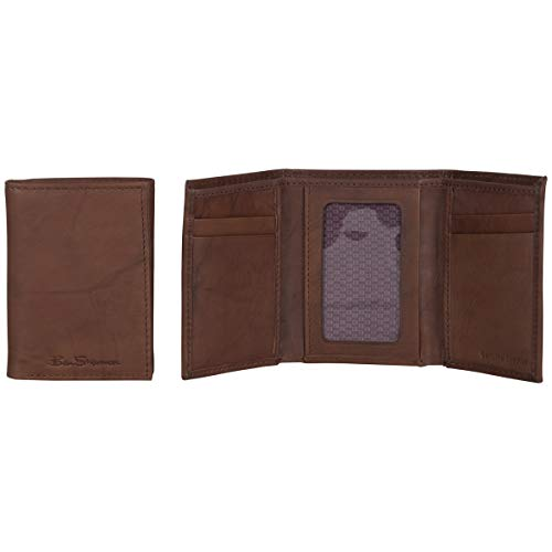 Ben Sherman Men's Manchester Bifold Full-Grain Leather RFID Minimalist Gift Box, Brown Marble Tri-Fold, Slim Wallet