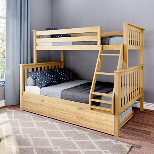 Max & Lily Bunk Trundle Bed, Twin/Full, Natural