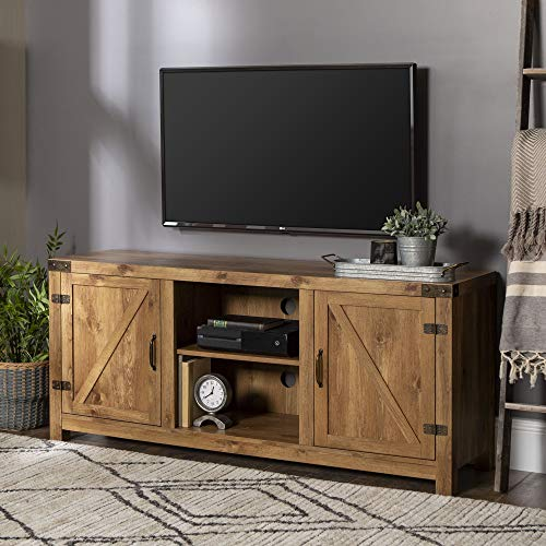 "Walker Edison Furniture Company Farmhouse Barn Wood Universal Stand for TV's up to 64"" Flat Screen Living Room Storage Cabinet Doors and Shelves Entertainment Center, 58 Inch, Barnwood"