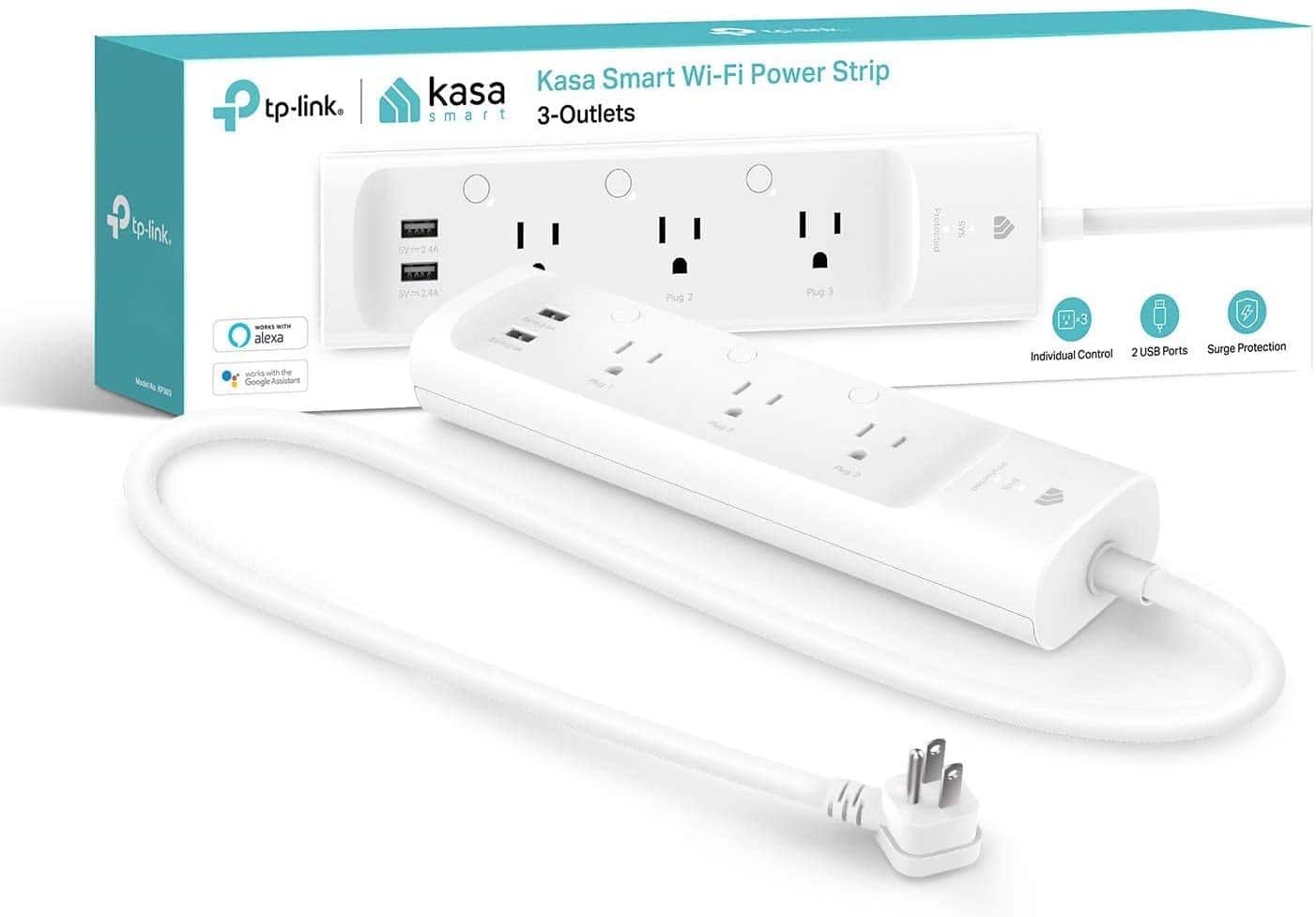 TP-Link Kasa Smart Plug Power Strip w/ 3 Smart Outlets & 2 USB Ports