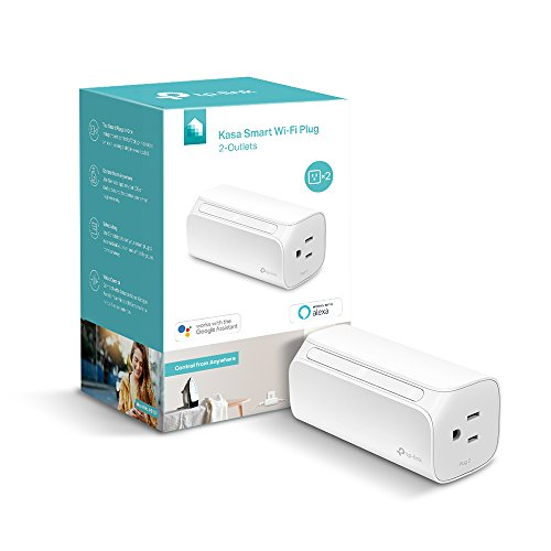 Kasa Smart Plug, 2-Outlets by TP-Link - Reliable WiFi Connection, Double the Outlets, Control from Anywhere, No Hub Required, Works with Amazon Alexa Echo & Google Assistant (HS107)