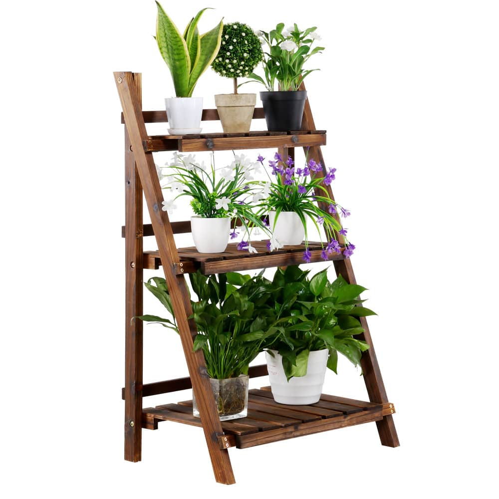 SmileMart 3-Tier Folding Wooden Plant Stand