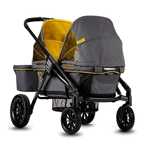 Evenflo Pivot Xplore Double Stroller Wagon, All-Terrain, Adventurer Gray