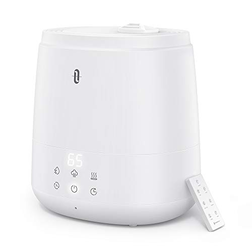 TaoTronics Humidifiers for Bedroom (6L), Warm and Cool Mist Humidifiers For Home (Top Fill Ultrasonic Air Humidifier, Remote Control, Sleep Mode, LED Display, Whisper Quiet)