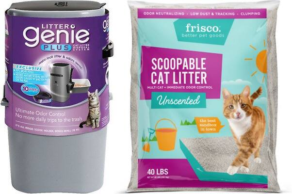 40lbs Frisco Unscented Cat Litter + Litter Genie Plus Litter Disposal System