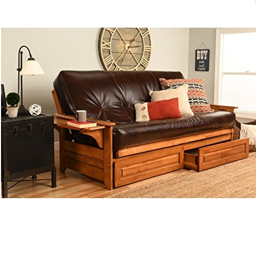 Kodiak Furniture Phoenix Futon Set with Oregon Trail Java Mattress and Storage Drawers, Full, Barbados