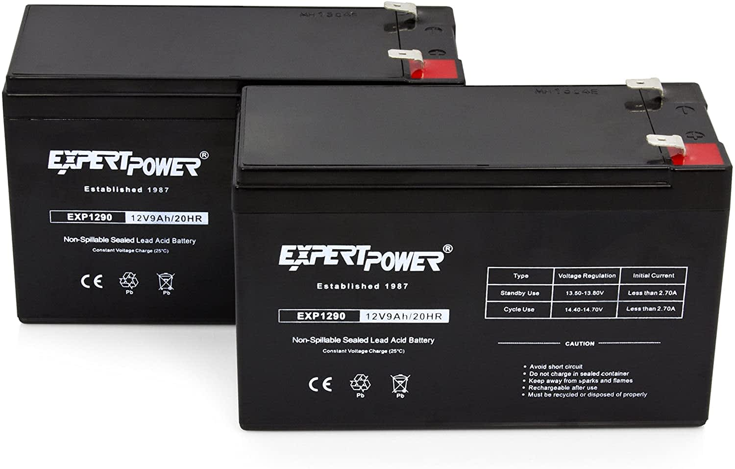 ExpertPower 12V 9ah Sealed Lead Acid Battery 2-Pack