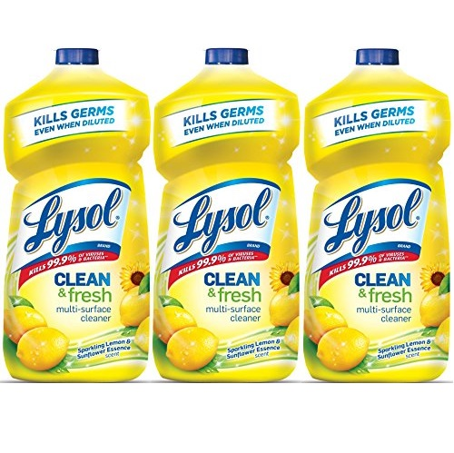 Lysol Clean & Fresh Multi-Surface Cleaner, Sparkling Lemon and Sunflower Essence, 40 oz, Pack of 3