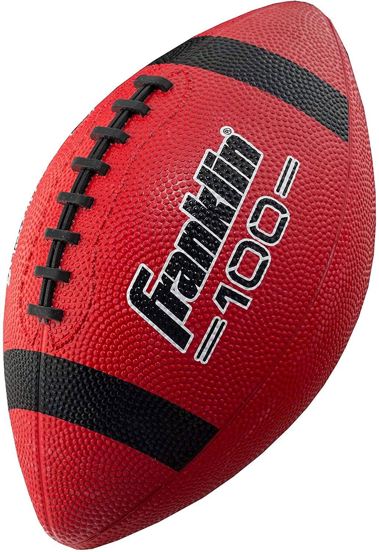"Franklin Sports Grip-Rite 100 10"" L x 6"" W Rubber Junior Football (Red)"