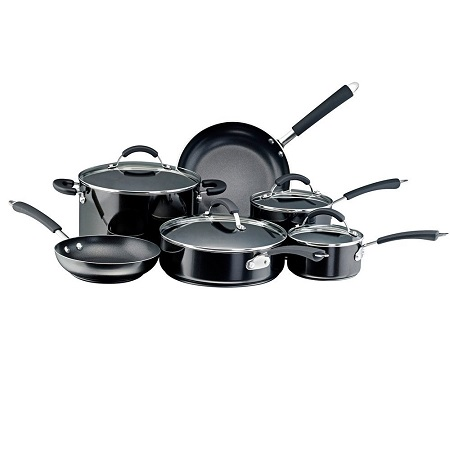Farberware 10569 Millennium Nonstick Cookware Pots and Pans Set, 12 Piece, Black