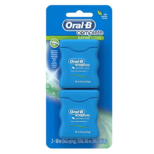 Oral-B Complete SatinFloss Dental Floss, Mint, 50 M (54.6 yd), Pack of 2