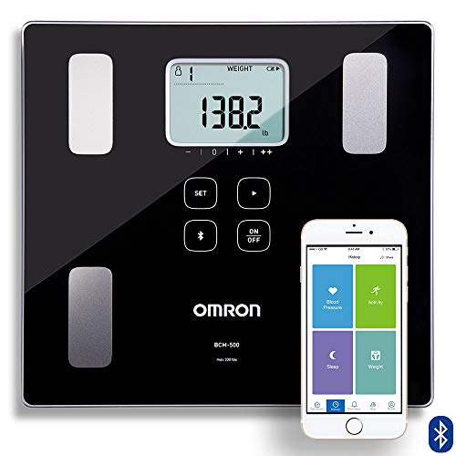 Omron Body Composition Monitor and Scale with Bluetooth Connectivity - 6 Body Metrics & Unlimited Reading Storage with Smartphone App by Omron, Black