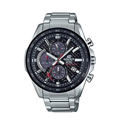 Casio Men's Edifice Quartz Watch with Stainless-Steel Strap, Silver, 22 (Model: EQS-900DB-1AVCR)