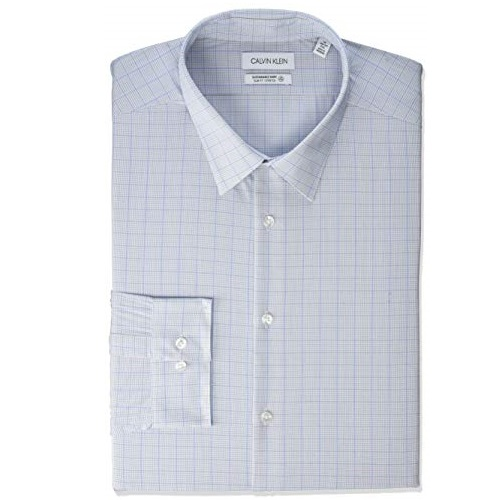 "Calvin Klein Men's Dress Shirt Non Iron Stretch Slim Fit Check, Blue Frost, 18"" Neck 34""-35"" Sleeve (XX-Large)"