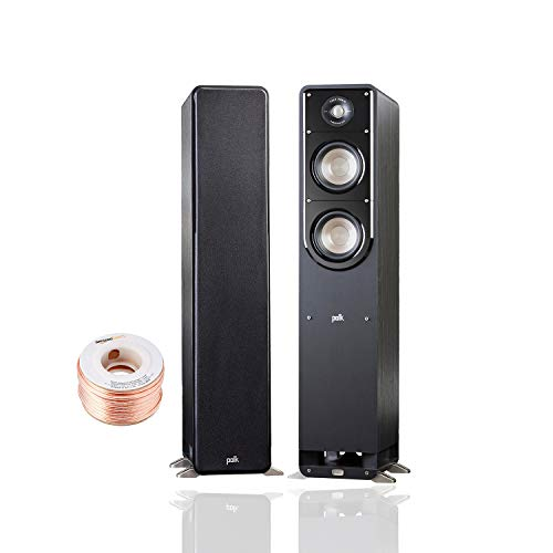 Polk Audio Signature Series S50 Floor Standing Speaker (Pair) with Amazon Basics 14 Gauge 50' Wire Cable | American HiFi Surround Sound | Detachable Magnetic Grille