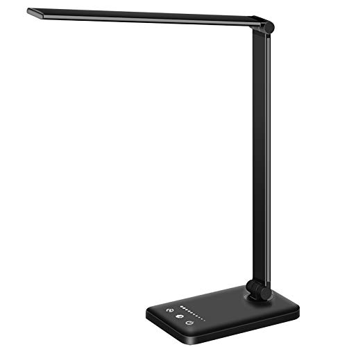 Prosperous  LED Desk Lamp Table Lamp Reading Lamp with USB Charging Port 5 Lighting Modes 5 Brightness Levels, Sensitive Control, 30/60 min Auto Timer, Eye-Caring Office Lamp