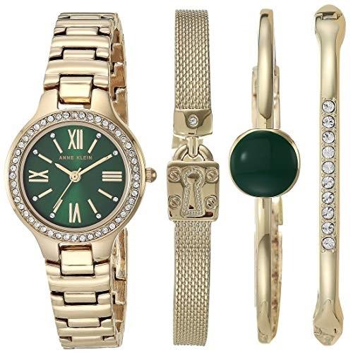 超赞!史低价!Anne Klein 安妮克莱因AK/3582 女士施华洛世奇水晶点缀手表和手链套装