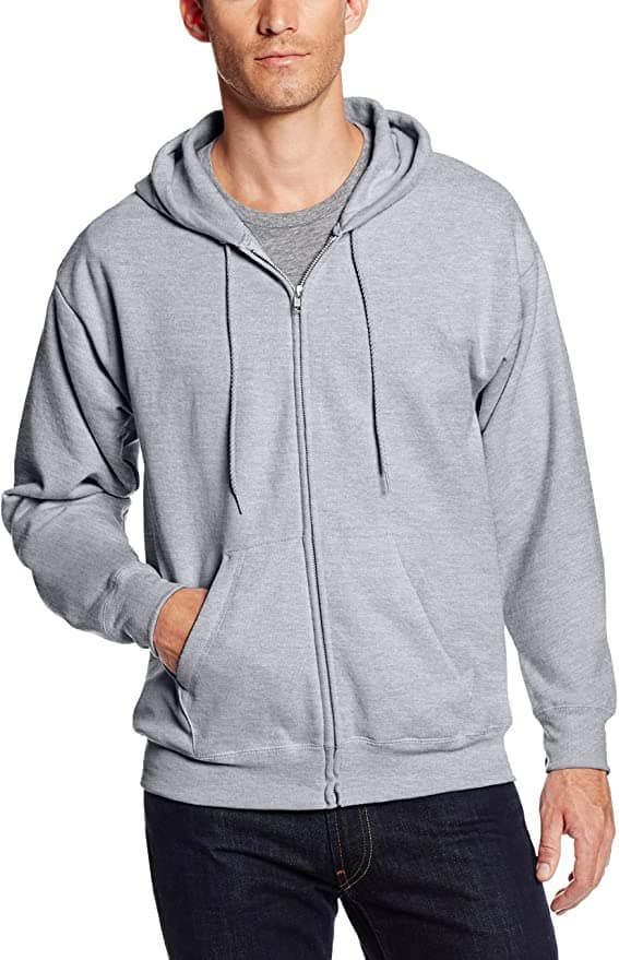 Hanes Men's Full-Zip Eco-Smart Fleece Hoodie (Light Steel)