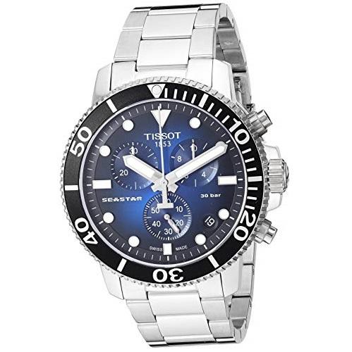 Tissot Men's Seastar Swiss Quartz Sport Watch with Stainless Steel Strap, Silver (Model: T1204171104101)