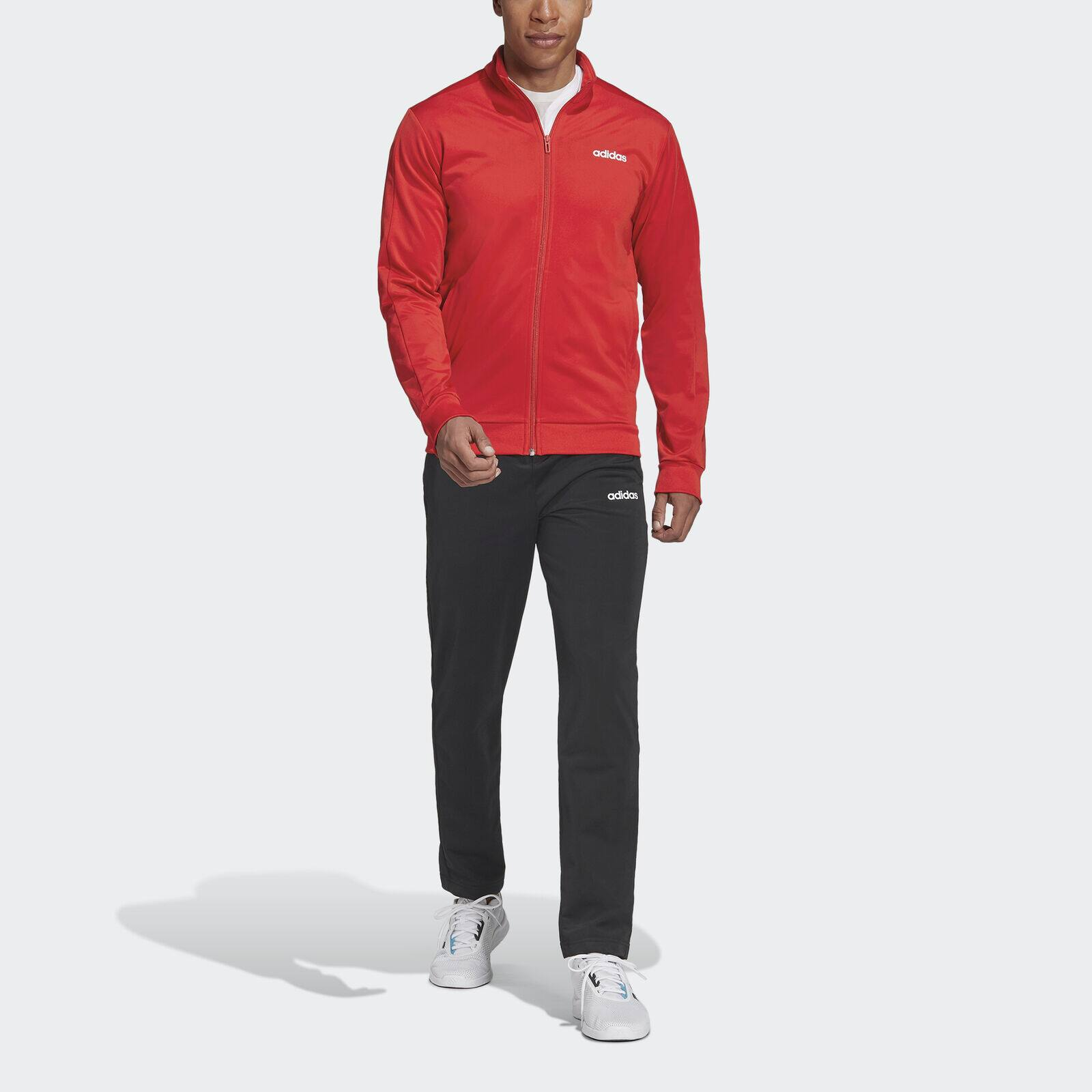 adidas Men's Essentials Basics Track Suit (Jacket and Pants, scarlet/black)