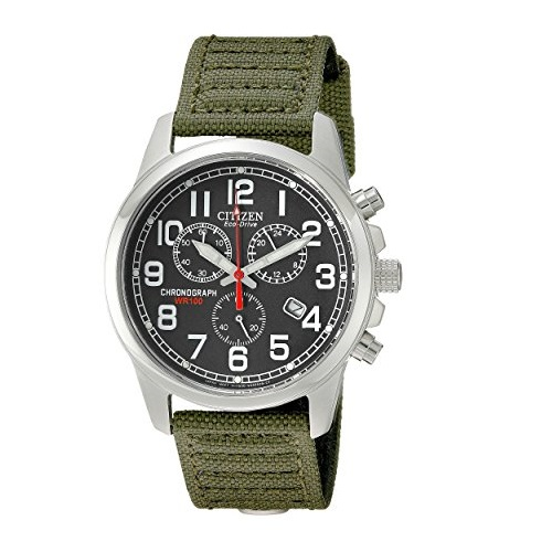 Citizen Men's AT0200-05E Eco-Drive Stainless Steel Watch with Green Canvas Band
